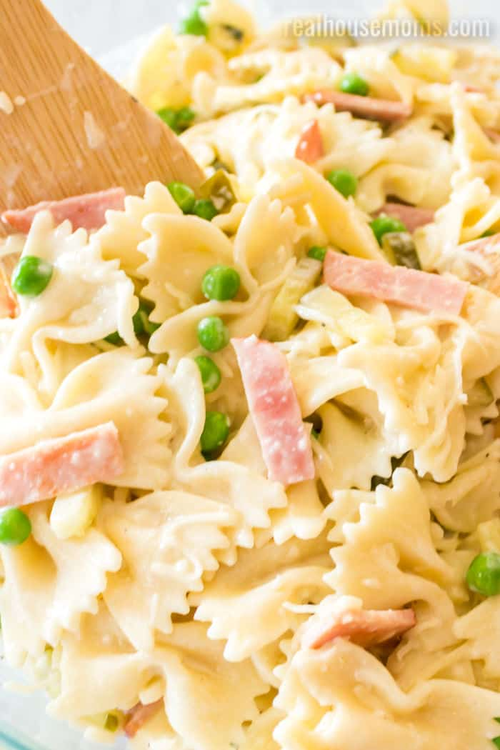 close up of ham and cheese pasta salad