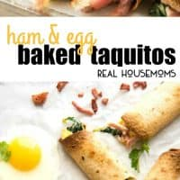 Crispy Ham & Egg Baked Taquitos are a fantastic grab 'n' go breakfast option that's handy to keep in the freezer!!