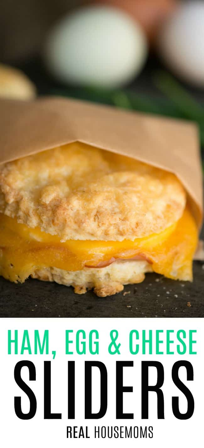 ham egg and cheese breakfast slider wrapped in brown butcher paper