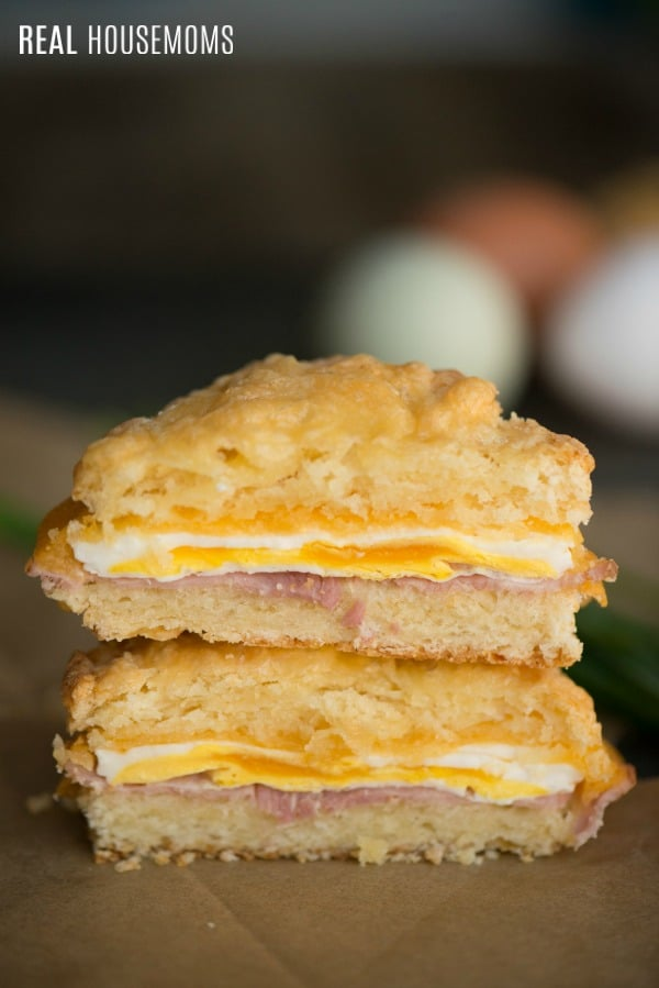 ham egg and cheese slider cut in half and stacked to show cross section