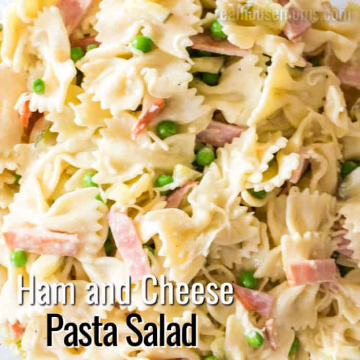 square image of creamy ham and cheese pasta salad with text