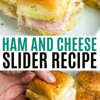 close up of ham and cheese slider and a slider being pulled from baking pan with cheese pulls