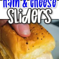 two pics of ham and cheese sliders, top close up of single piece, second photo is single slider with cheese shot