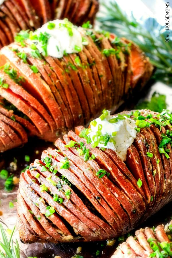 Hasselback Sweet Potatoes just out of the oven