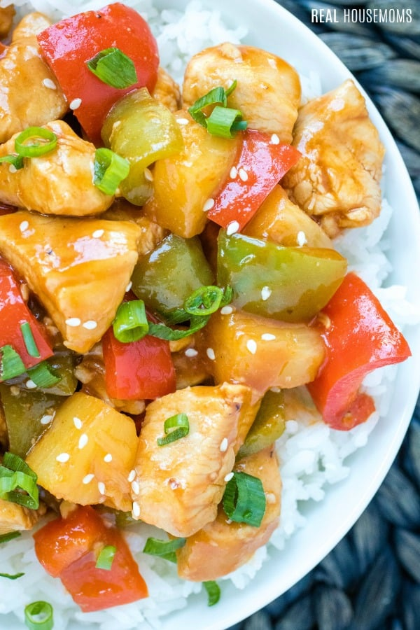 close up of hawaiian chicken with bell pepper and pineaple