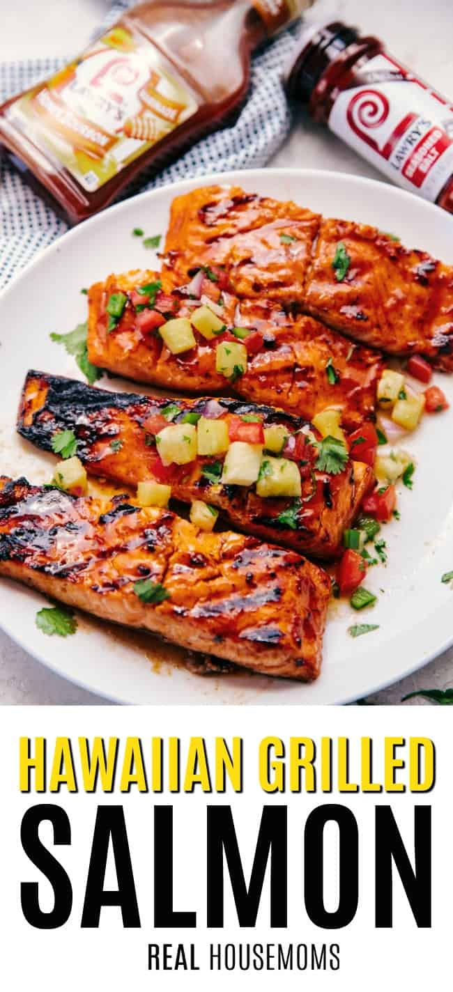 Hawaiian Grilled Salmon Filets on a serving plate
