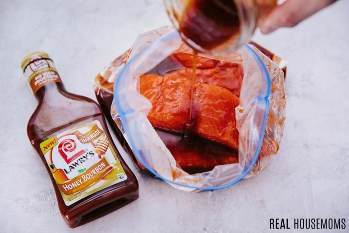 salmon filets in a ziptop bag with marinade