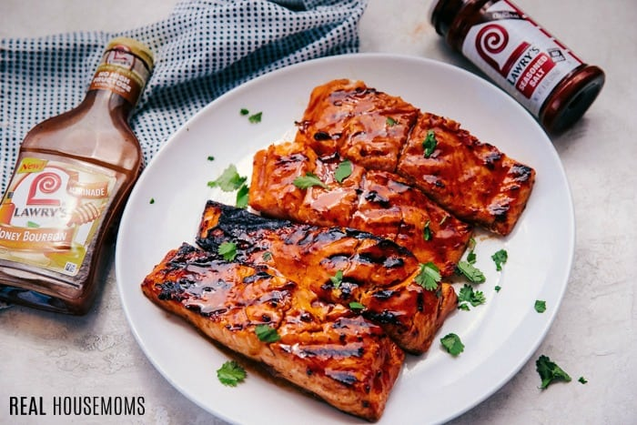 honey bourbon marinated salmon filets on a plate