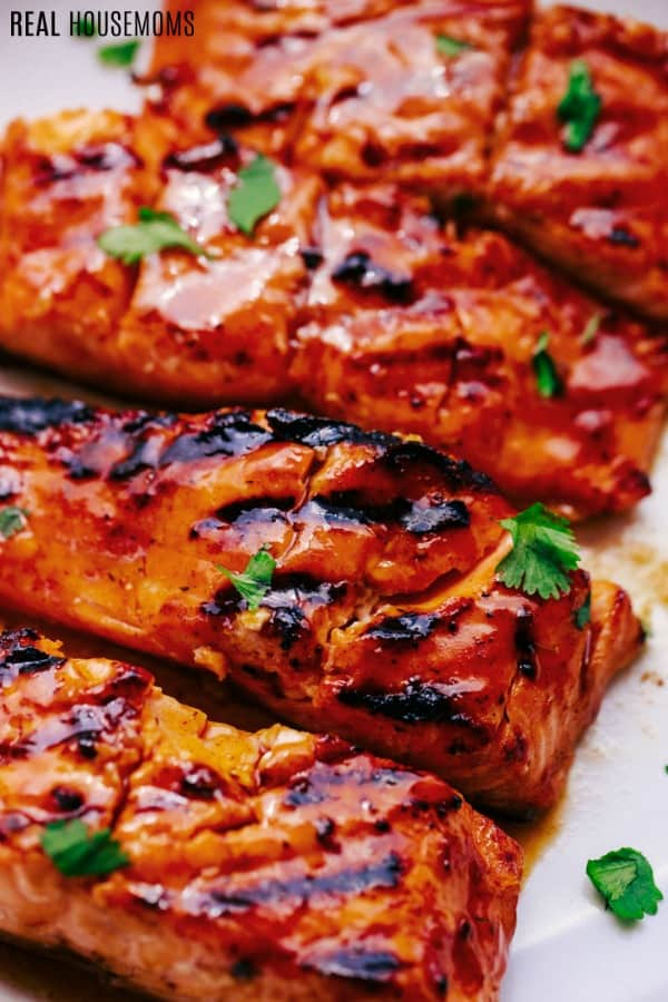 close up of hawaiian grilled salmon filets