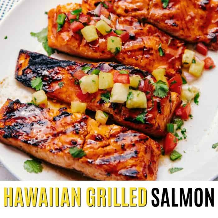 square picture of hawaiian grilled salmon filets with text