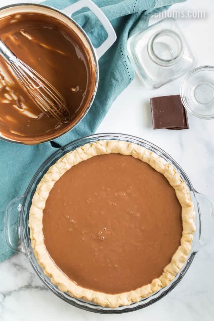 chocolate custard filling in a pie crust