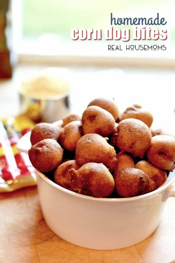 Homemade Corn Dog Bites will disappear fast when you make them for watching the big game or an after school snack! They're an easy appetizer recipe that everyone loves!