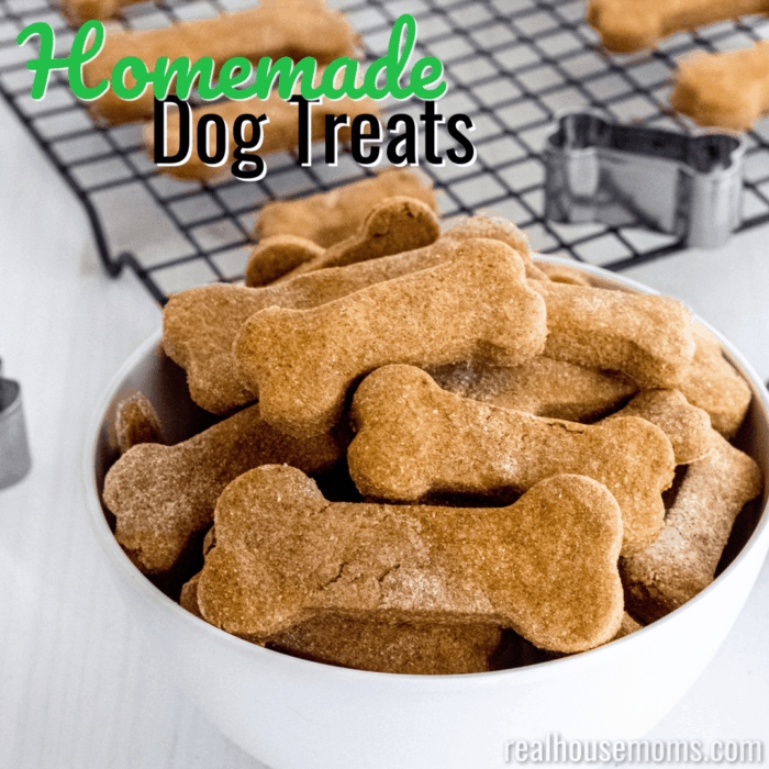 square image of homemade dog treats with text