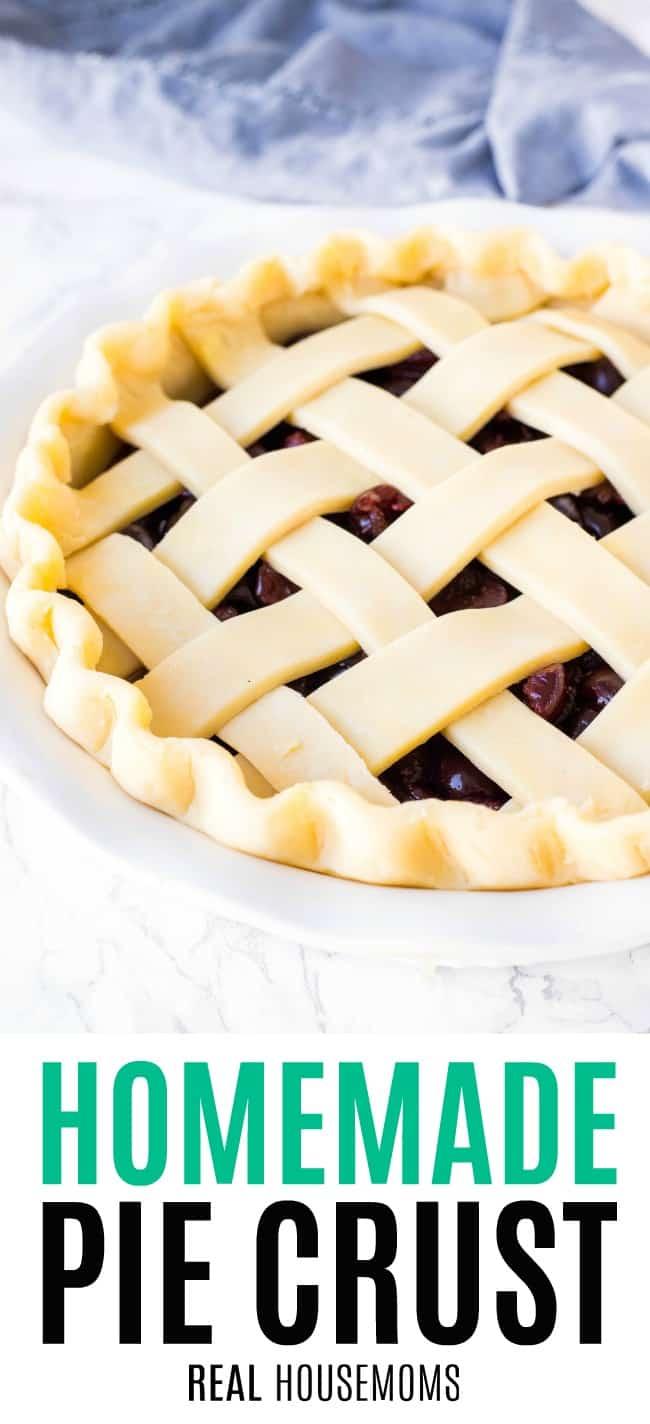 unbaked pie with lattice top crust