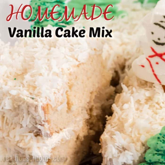 square image of homemade vanilla cake mix with text