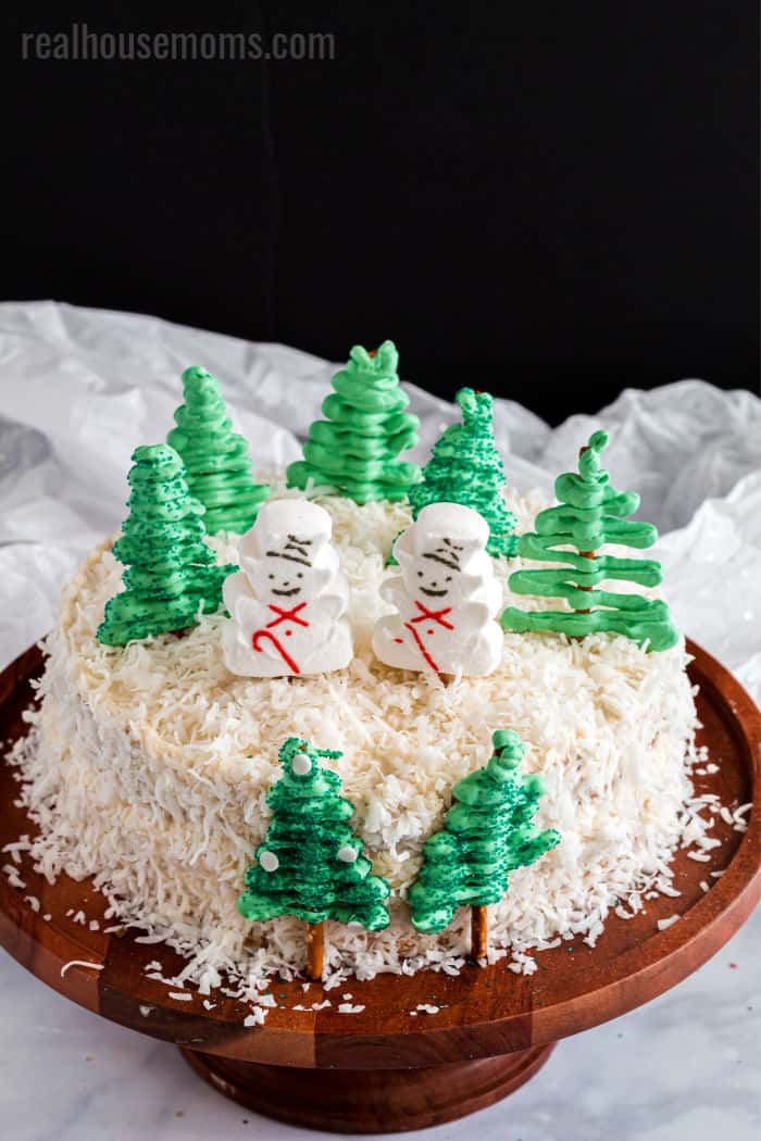 winter themed snowman cake