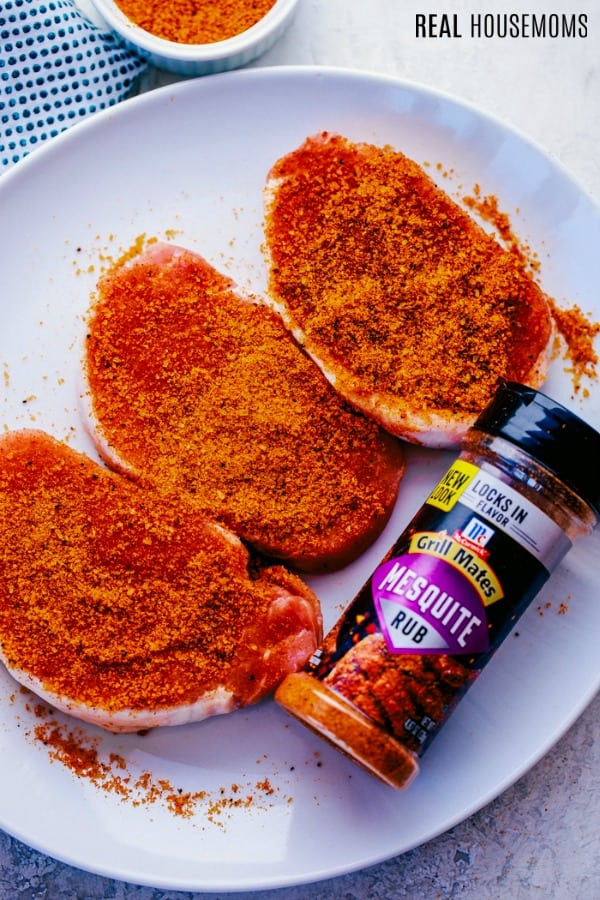 pork chops coated in mesquite dry rub