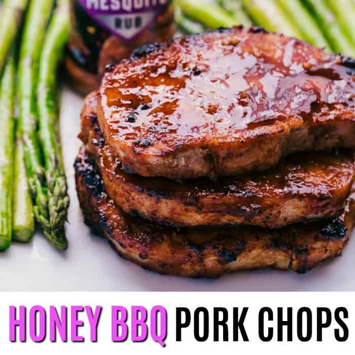 square image of honey bbq pork chops with text