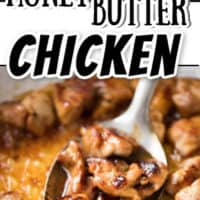 A collage of Honey Butter Chicken Images. The top is a close up of pieces on top of mashed potatoes. The bottom image is several pieces on a spoon covered in honey sauce.