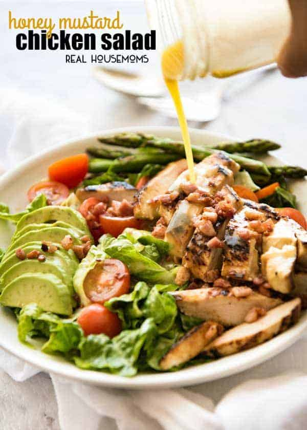This Honey Mustard Chicken Salad is not just another salad. My secret tip for this recipe is that the gorgeous honey mustard dressing does double duty as both a slather for the chicken and the dressing for the salad!