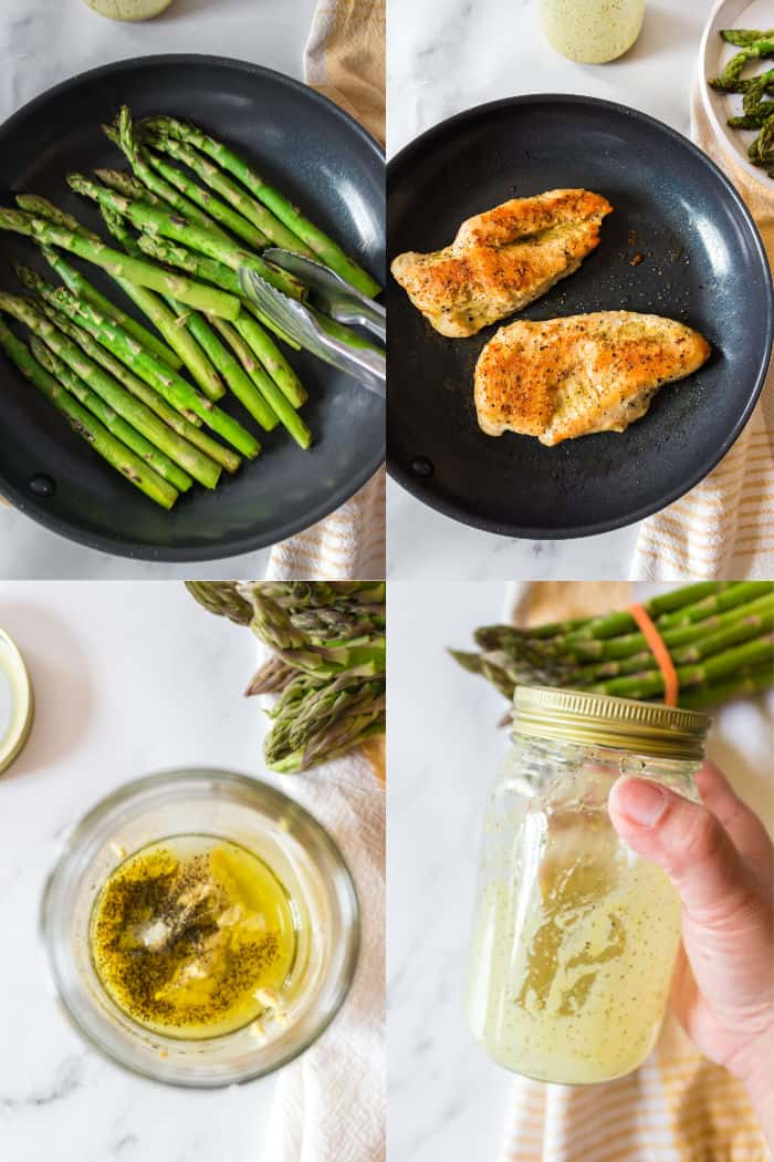 asparagus being cooked in a skillet, chicken breasts being cooked in a skillet, honey mustard dressing ingredients in a mason jar, mason jar of dressing ingredients being shaken