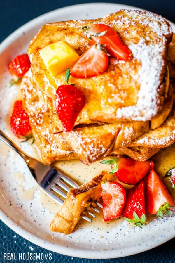 french toast with a bite on a fork