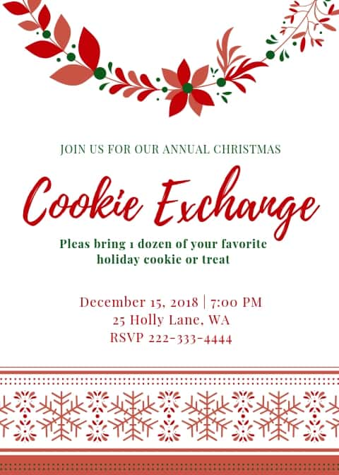 sample invitation to a cookie exchange holiday party