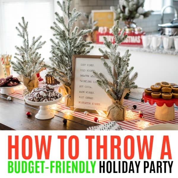 square image of budget-friendly holiday party with text
