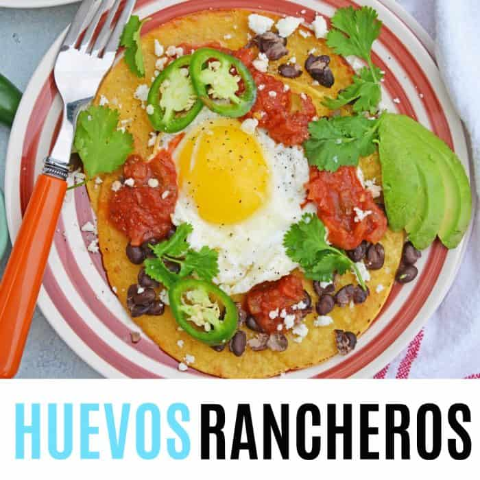square image of huevos rancheros with text