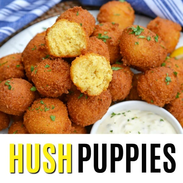 square picture of hush puppies with text