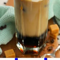 one image of iced macchiato with blue lettering