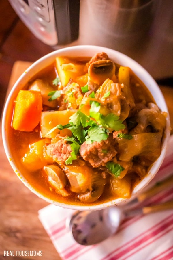 close up of instant pot beef stew in a bowl with spoon