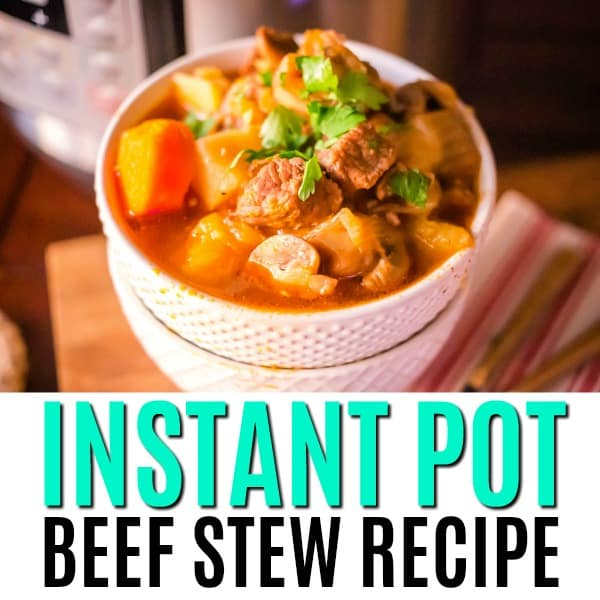 square image of instant pot beef stew with text