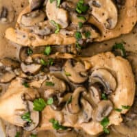 chicken marsala on a serving platter with recipe name at bottom