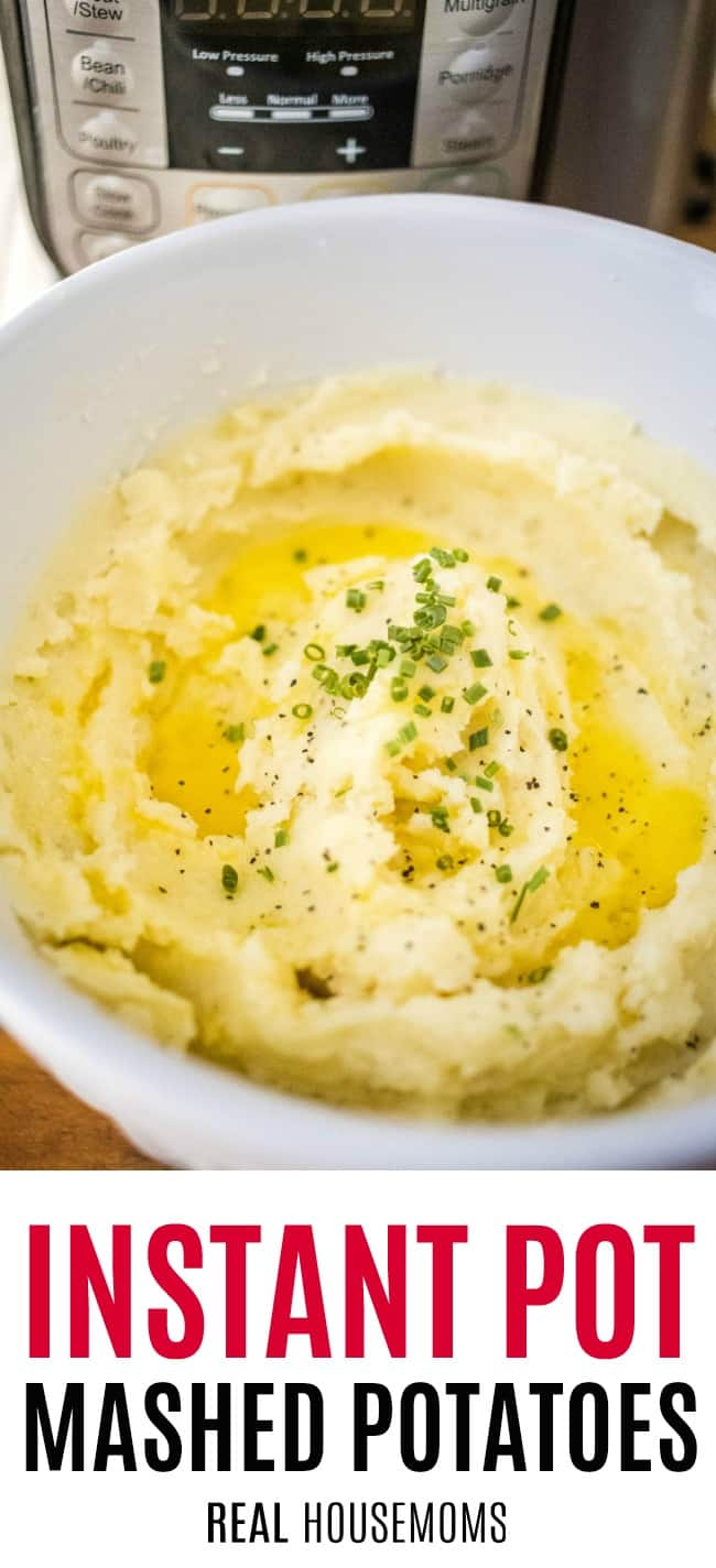 instant pot mashed potatoes in a serving bowl