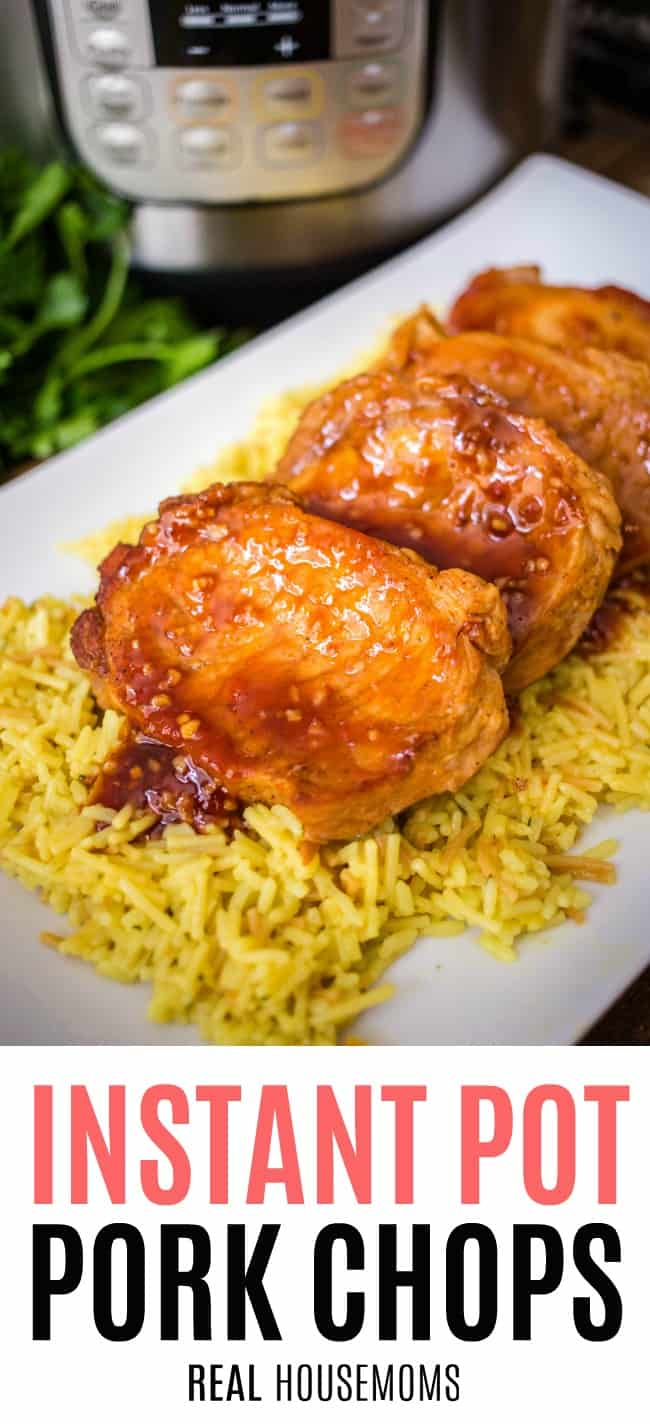 instant pot pork chops with honey garlic glaze on a serving platter