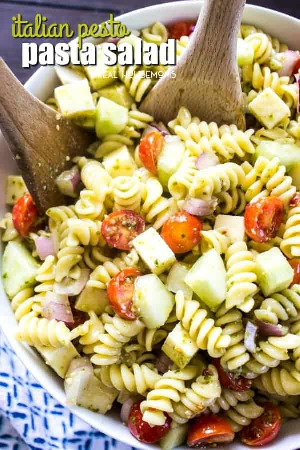 Italian Pesto Pasta Salad is a flavorful side dish that's guaranteed to be the star of every potluck or get-together you attend. The addition of the pesto turns this classic pasta salad into a summer must have!