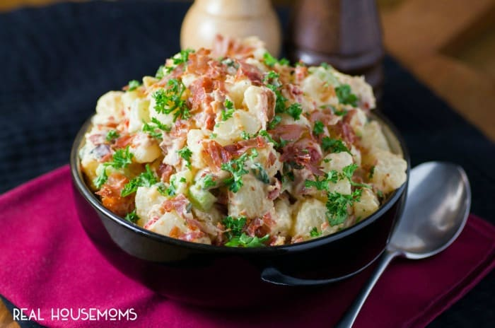 Not a bite will be left of ITALIAN PROSCIUTTO POTATO SALAD at your next BBQ, picnic or potluck!! The salty goodness of crispy prosciutto will have everyone coming back for seconds!