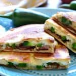 JALAPEÑO POPPER QUESADILLAS have all the flavors of jalapeño poppers in a fun package that's perfect for dipping! These little bites make a delicious summer appetizer and can also double as a meal!
