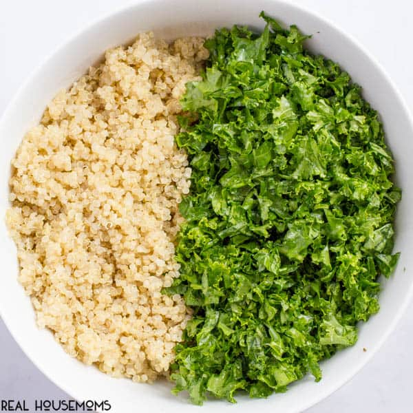 Kale quinoa salad with chopped walnuts, grated Parmesan cheese and a squeeze of lemon juice is a light, fresh and healthy side dish!