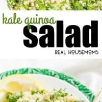 Kale Quinoa Salad with chopped walnuts, grated Parmesan cheese, and a squeeze of lemon juice is a light, fresh and healthy side!