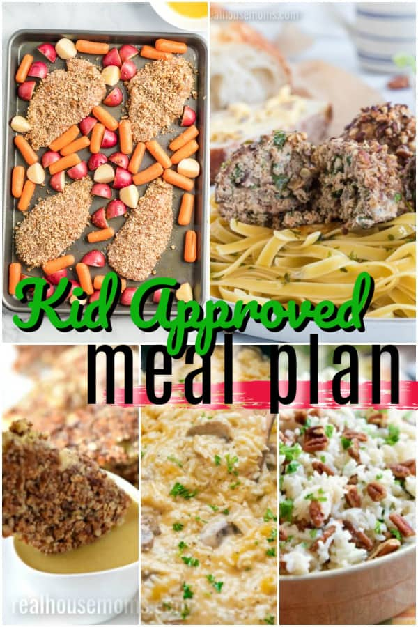 vertical collage of kid approved meal plan recipes