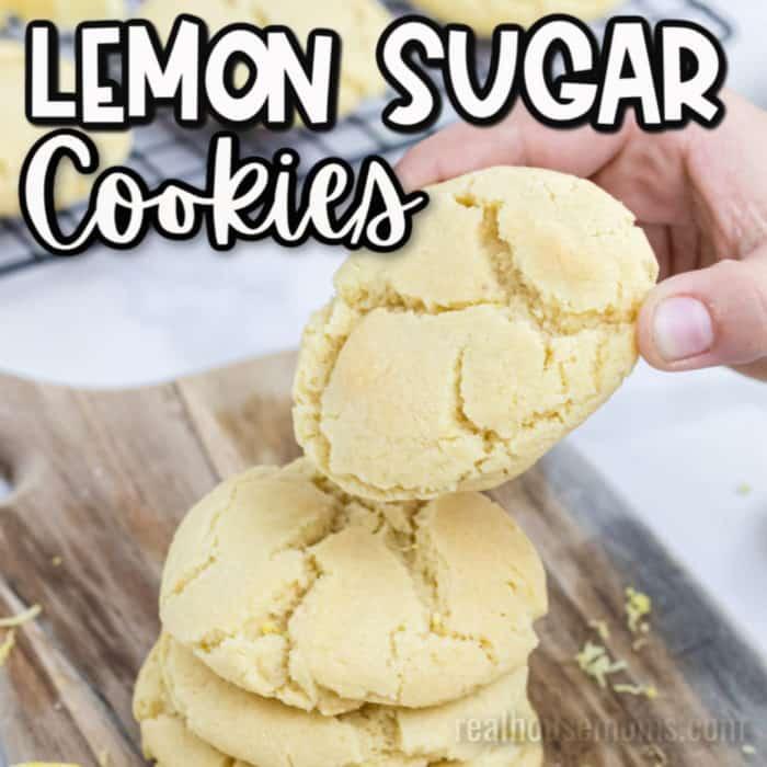 square image of lemon sugar cookies
