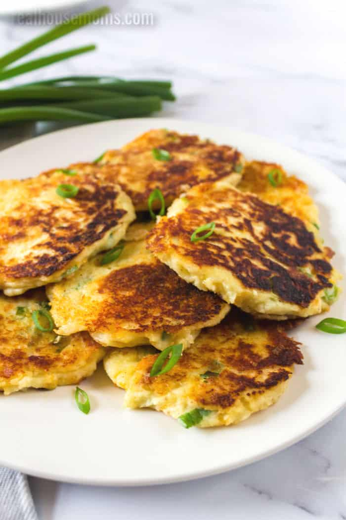 plate piled with potato pancakes