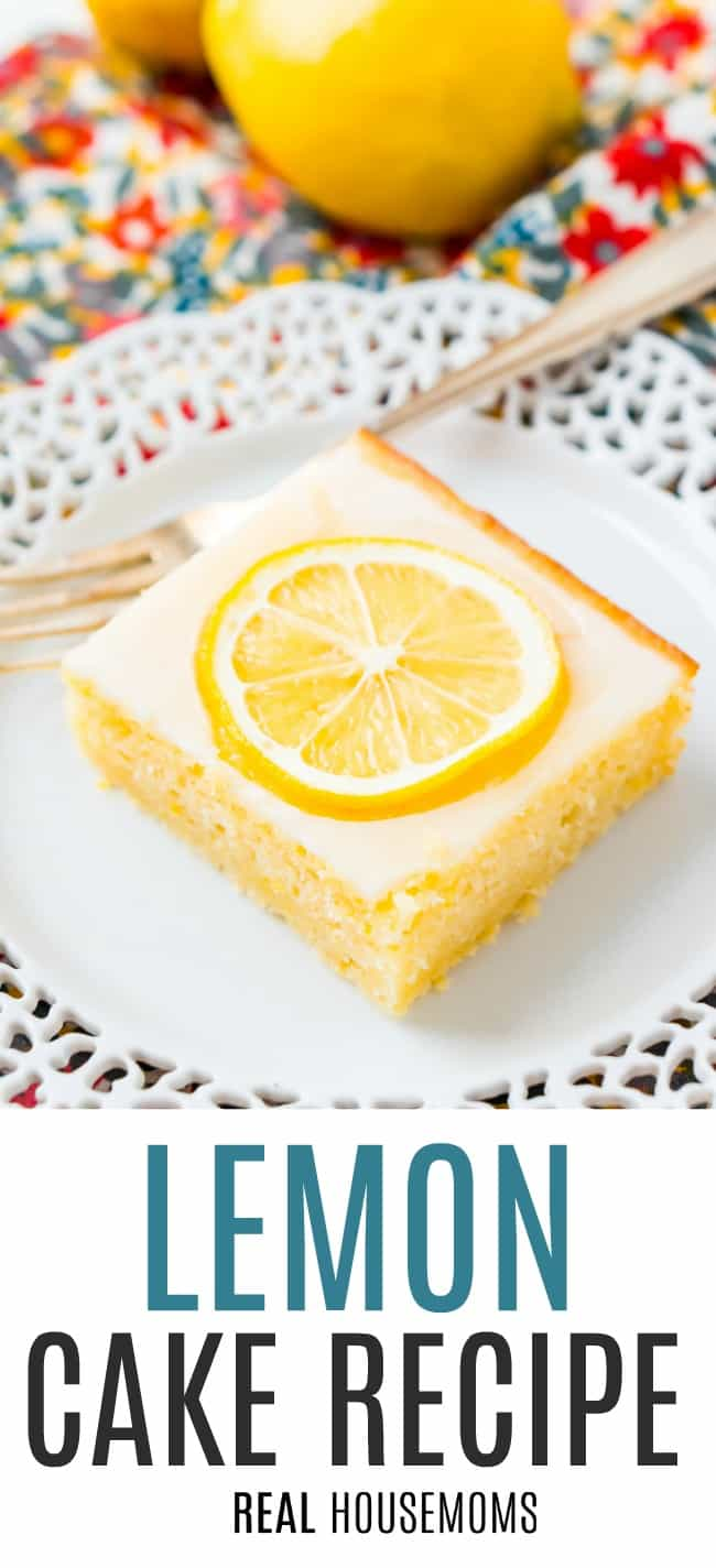 Slice of Lemon Cake topped with a candied lemon slice on a dessert plate