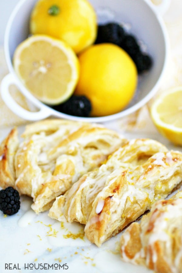 This flaky LEMON CREAM CHEESE DANISH is an easy breakfast or brunch recipe made with puff pastry and filled with a creamy, sweet and tart filling!