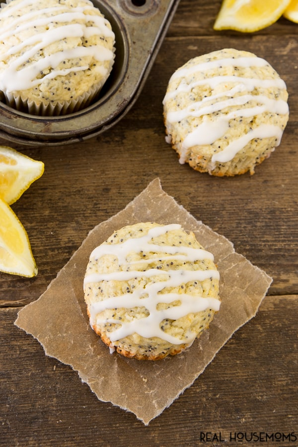 Lemon Lovers pucker up with these lemony poppy seed muffins drizzled with lemon glaze. It's a flavor explosion in your mouth that is perfect for breakfast, brunch or just snacking!