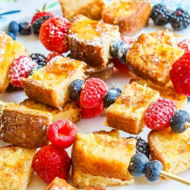 These delicious Lemon Pound Cake French Toast Skewers make it OK to eat cake for breakfast!