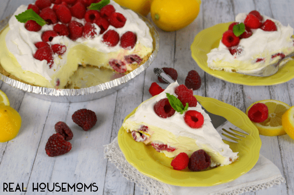 This LEMON RASPBERRY NO BAKE PIE is the perfect springtime dessert! Just as easy as it is delicious, this pie is great for Easter dinner, cookouts, or any get-together!