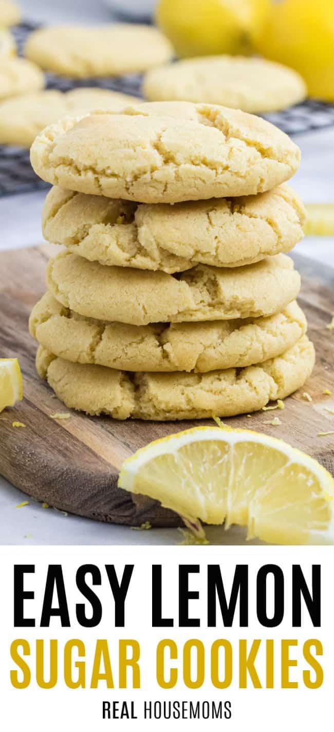 stack of lemon sugar cookies with a slice of lemon
